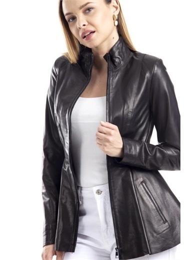 Deri Effect Kadın Deri Ceket Siyah